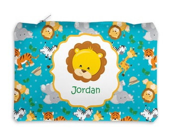 Animal Personalized Pencil Case - Safari Faces Blue Dot Safari Animals with Name, Customized Pencil Case, Pencil Holder, Pouch