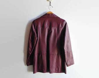 Burgundy Faux Leather Jacket for Women - 90s Vintage Clothes