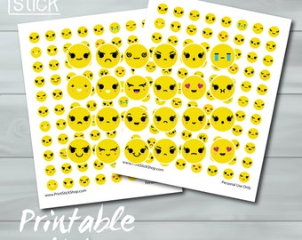 Emoji Printable Stickers - JPG - Planner Stickers Perfect for your Erin Condren Planner or any other planner or notebook !
