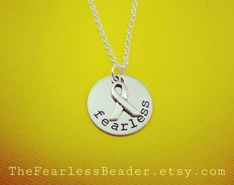 Fearless Necklace with Cancer Ribbon, Cancer Necklace, Cancer Awareness, Breast Cancer Jewelry, Motivational Jewelry, Inspirational, Cancer
