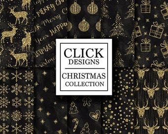 "Christmas Digital Paper: ""CHRISTMAS BLACK GOLD"" scrapbook paper pack with snowflakes, trees, stars, deers, text, for xmas invites, crafts"