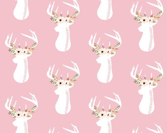 Pink Deer Nursery Fabric by the Yard Cotton Baby Girl Fabric Organic Cotton Minky Jersey Knit Childrens Fabric 7082370