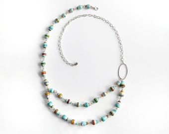 Multi-colored Multi-strand Handmade Paper Bead Necklace // Colourful beaded necklace // upcycled paper bead necklace // sustainable jewelry