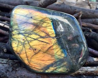 Large Polished Labradorite Display / Standing Flashy Labradorite Stone 682g