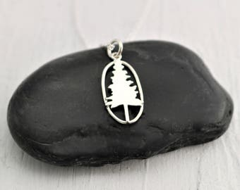 Sterling Silver Pine Tree Necklace, Nature Jewelry Woman, Gift For Nature Lover Gift, Jewelry for Hikers Gift for Naturalist, Hiking for Her