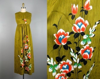 Vintage 1960s Cotton Hawaiian Dress 60s Olive Green Floral Print Dress by Stan Hicks Size S