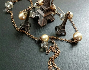 Antique Copper Eiffel Tower Pearl/Austrian Crystal Necklace & Earrings