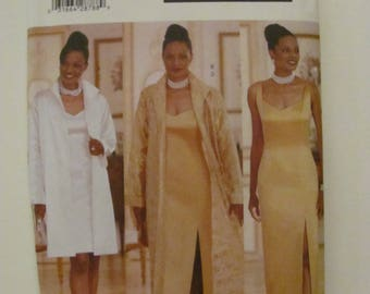 Butterick 5881 Formal Bridesmaid Wedding Dress and Duster Jacket Sewing Pattern Size 8-10-12 1998 Essence Collection