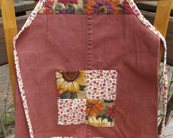 Sale - Child's Denim Apron with Pocket, Craft Apron, Cooking Apron, Art Apron - Sunflowers and Sienna