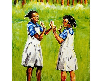 Island Art - Wall Art - Bahamas Art - Girls Playing on the School Yard - Andros Island, Bahamas - Original Oil Pastel