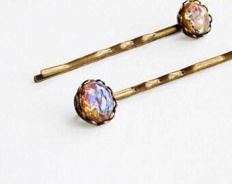 Opal Hair Pins Topaz Hair Pins Topaz Opal Bobby Pins Small Vintage Yellow Glass Harlequin Fire Opal Hair Pins Iridescent Glass