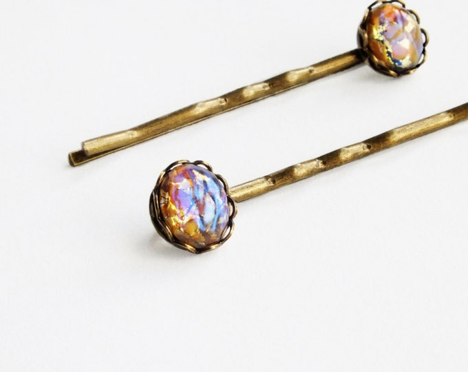 Opal Hair Pins Topaz Hair Pins Topaz Opal Bobby Pins Small Vintage Yellow Glass Harlequin Fire Opal Hair Pins Iridescent Glass