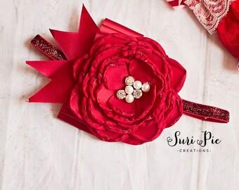 Red Valentines headband..Baby Headband..baby girl headband..Valentines headband..newborn headband..girl headband..photo prop