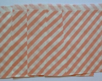 "25 Light Pink and White Striped Paper Treat Baggy- Goody Bitty Bags- Baby Girl Bridal Shower Gift Bag-Candy, Treats, Utensil Baggy- 5"" x 7"""