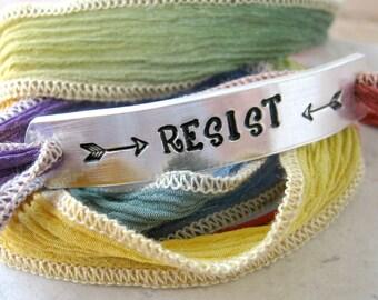 Resist Bracelet, silk ribbon wrap, Resist Rainbow Bracelet, LGBTQ rights, Lesbian Bracelet, the resistance, feminism, feminist, protest