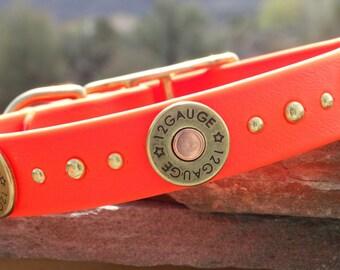 Blaze orange shotgun shell waterproof dog collar