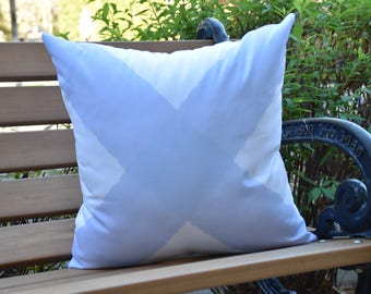 X Marks the Spot 16 inch Blue Decorative Geometric Throw Outdoor Pillow