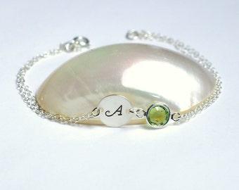 Personalized bracelet, August birthstone, Personalized birthstone bracelet, Initial bracelet, Bridesmaid bracelet, Bridesmaid jewelry