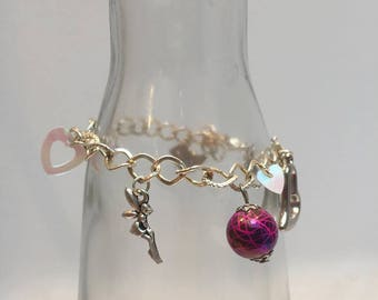 Jewelry bracelet charms with pink beads