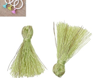 20 charms 25mm - Green-SC64857 Polyester fringe tassels-