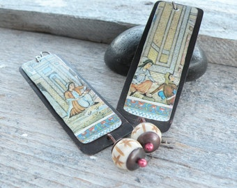 Persian Afternoon Recycled Tin Earrings with Bone Dangles - Handmade