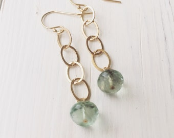 gold and green fluorite earrings, 14k gold filled earrings, fluorite earrings, dangle earrings