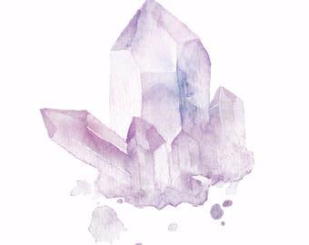 Watercolor Amethyst Crystal Print, Wall Art, Decor, Download, Zen Pen, Meditation