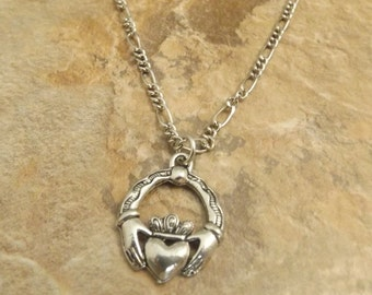 Pewter Claddagh Charm on a Figaro Chain Necklace- Free Shipping in the US - (5051)
