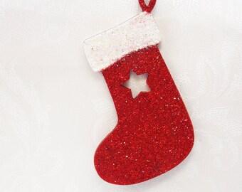 Christmas Stocking Decoration, Christmas Tree Decoration, Wooden Decoration, Stocking, Hanging, Festive, Holidays, Star, Glitter, Red, White