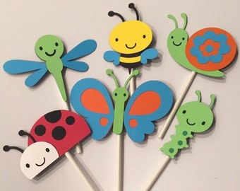 12 Spring Bug Cupcake Toppers; Caterpillar; Bee; Butterfly; Ladybug