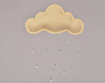 Cloud mobile with crystal raindrops