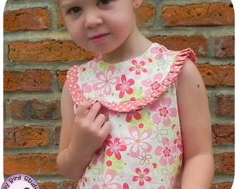 Bia's Dress 1 to 8 yrs PDF Pattern and Instructions, beginner to intermediate sewers, A-line dress, pleated rounded yoke, back to school