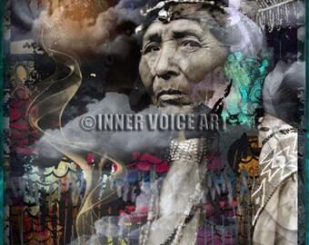 Telling Your Stories... Is Powerful Medicine ~ Original Design, Digital Collage Art Print
