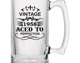 Vintage 1958 Aced to Perfection - Statement Beer Mug - Gift Idea - 24 ounce Beer Mugs