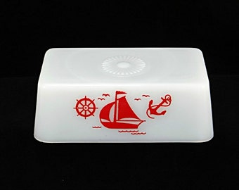 McKee Glassware Red Sailboat Butter Dish Cover, Vintage Milk Glass Replacement Lid