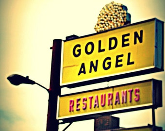 Chicago Photo, Chicago Art,  Chicago Photography, Lincoln Square, Golden Angel, Mid Century vintage sign, restaurant, diner, yellow, gold