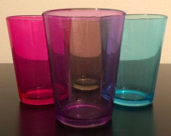 Vintage Colored Juice Glasses, Mid Century Small Glasses, Set Of 4, Mid Century Bar Cart Glasses, 1960's Juice Glasses