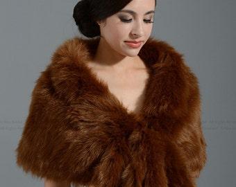 Brown faux fur wrap bridal wrap faux fur shrug faux fur stole shawl cape A001