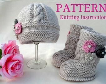 Knitting PATTERN Baby Set Infant Baby Hat Babies Baby Shoes Newborn Knitted Baby Hat  Baby Booties Baby Boy Baby Girl Pattern ( PDF file )