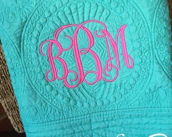 Monogrammed Baby Blanket, Baby Blanket, Baby Quilt, Baby Shower, Gift, Monogrammed Blanket, Personalized Blanket