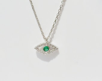Eye Necklace, in 925 Sterling Silver and Cubic Zirconia • Waterproof • Very Sweet Necklace for all Ages