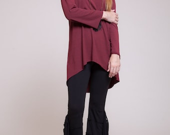 Womens blouse, boat neck shirt, high to low long sleeved shirt, maroon shirt, casual wear,  sizes : XS / S / M / L / Xl