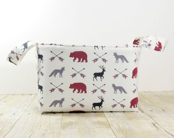 Fabric Storage Basket - Diaper Caddy - In the Woods Arrows Print  - Toy Storage