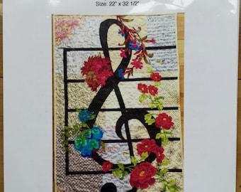 Treble clef art quilt pattern - music quilt pattern
