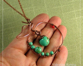 Copper green apple pendant, Wire apple  pendant,  Turquoise apple pendant, Wire wrapped jewelry,  Gift for her,  Wire apple necklace