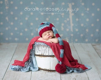 NEW ITEM! Elf Hat in Cranberry and Dusty Blue