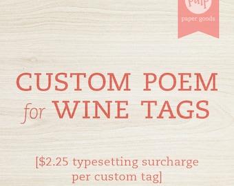 Custom Poem / Custom Wording for Bridal Shower Wine Tags / Add-On