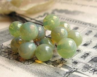 "Glass headpin ""Lichen"" grape green, lime green, apple green (4 heapins) handmade, 7mm round head pin, 3"" long oxidized copper wire, 22 gauge"