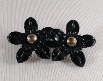 Vintage Carved Celluloid Brooch - 2 Black Flowers