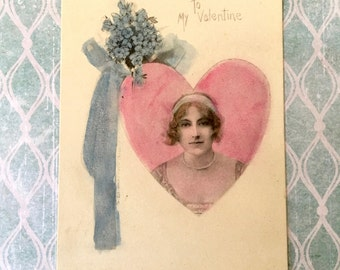 Lovely Edwardian Era Valentine Postcard with Pretty Lady in a Heart